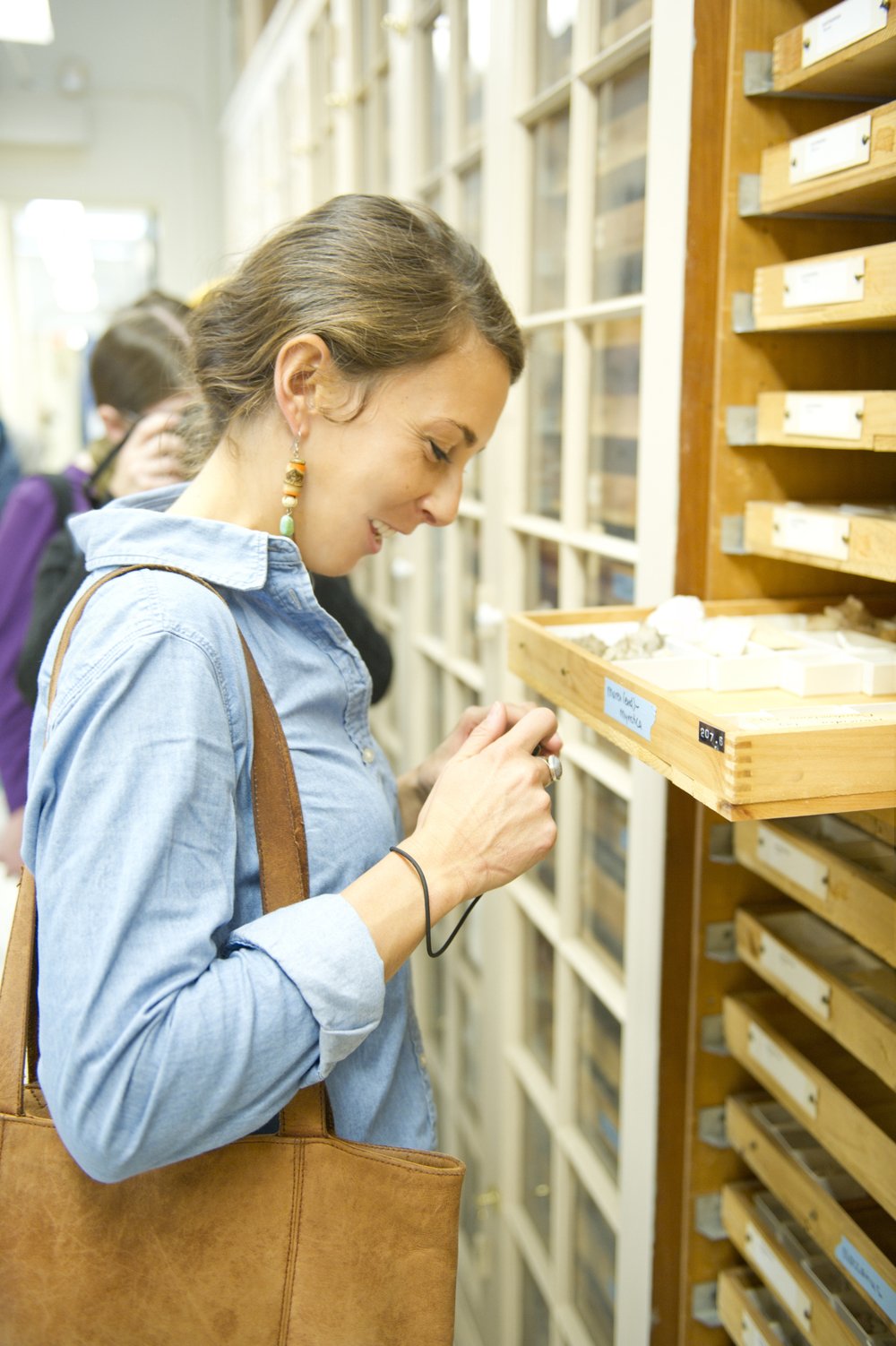 A member of the  Jenks Society for Lost Museums  investigates Agassiz specimen drawers at the Harvard Museum of Comparative Zoology. Image source at link.