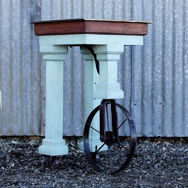 So pleased that the hand cultivator side table found a good home in Oregon! #handmadeinoregon #oregonfarms #shoplocally #klamathcountysunshine