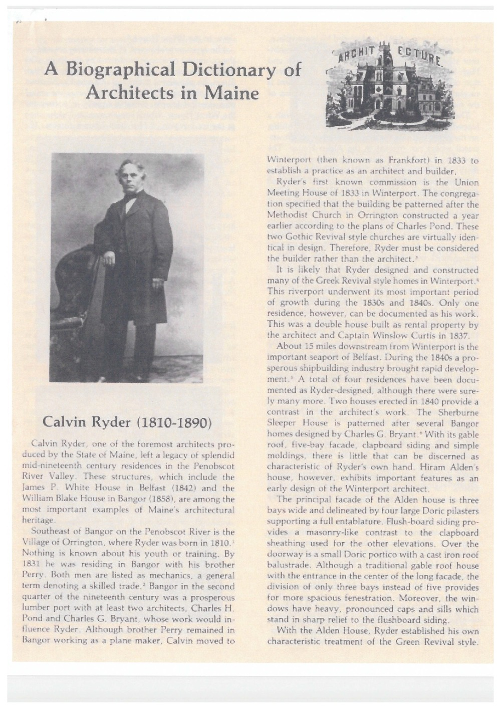 Biography of Calvin Ryder, the original architect of 6 Union Park.