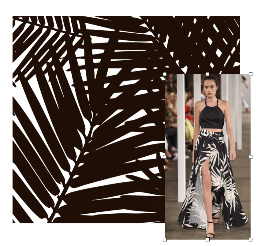 Milly Dress, Katie Kime Wallpaper: Ready to wear leaf prints were a huge hit on the runway. I don't know about you, but my walls are ready to wear this jungle print wallpaper too!