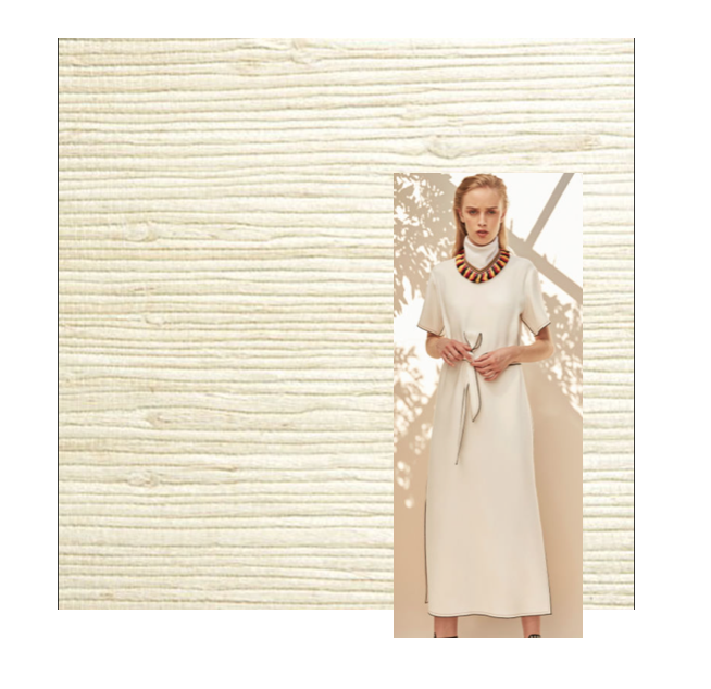 Derek Lam Dress, Twenty2 Wallpaper: Lots of designers rocked classic neutrals including white and khaki. I can't get over using this textured nude grasscloth to elevate your design.