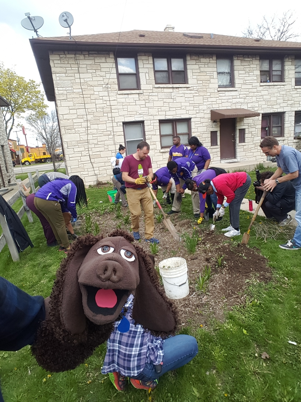 Building one of 6 new rain gardens in the Century City Triangle Neighborhood with 10 seniors from the Milwaukee Collegiate Academy.