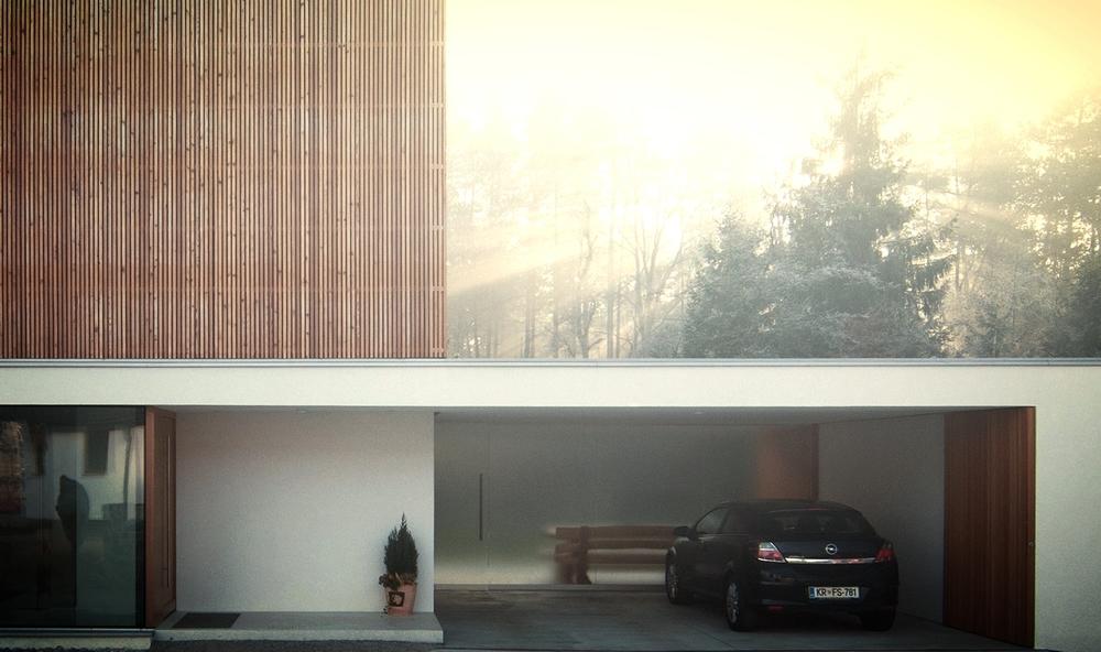Vhodni nadstrešek in nadstrešek za dva avtomobila lesene pasivne hiše v Bitnjah pri Kranju