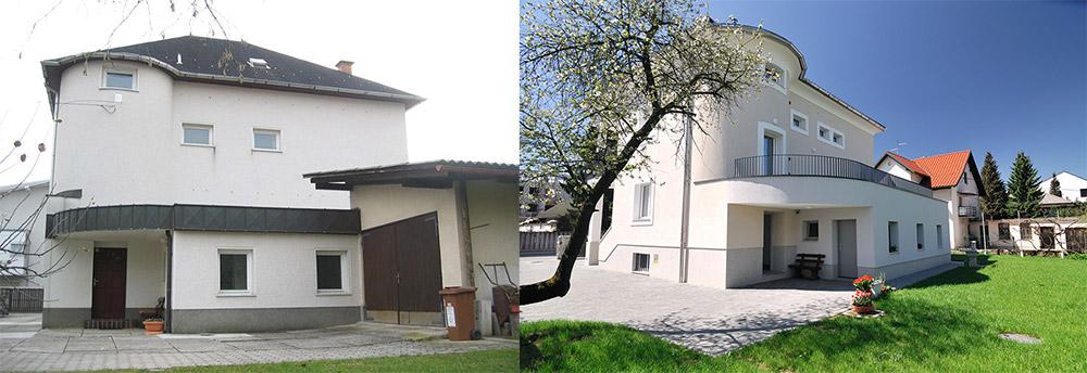 Energetska sanacija dvostanovanjske hiše (levo: stanje pred prenova, desno: stanje po prenovi)
