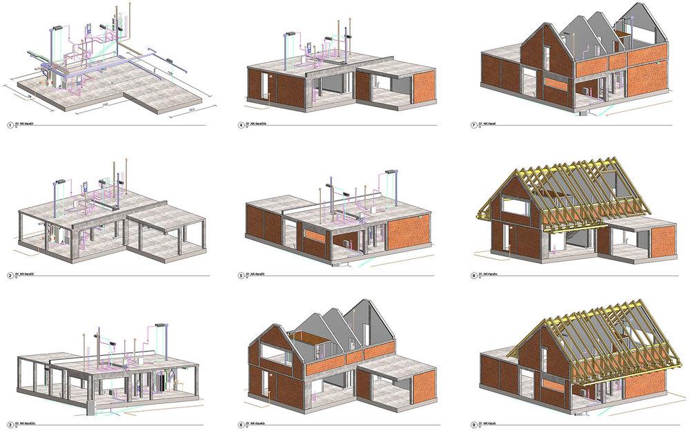 BIM model - konstrukcija od temeljne plošče do strešne konstrukcije z inštalacijami
