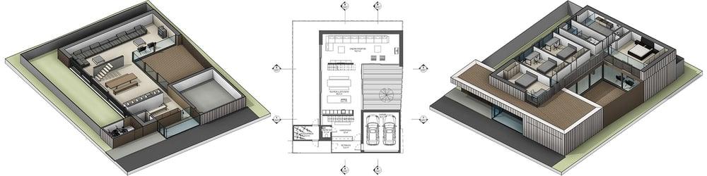 Prerez BIM modela čez pritličje in nadstropje