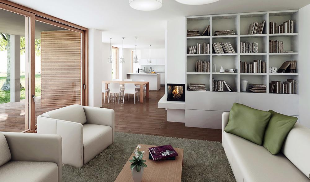 Pogled iz dnevne sobe proti kuhinji in prijetni prostorni terasi.
