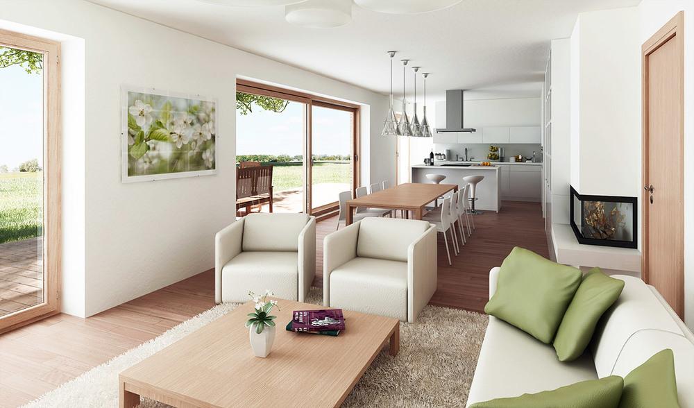 Bivalni prostor tipske hiše Lumar BETA.