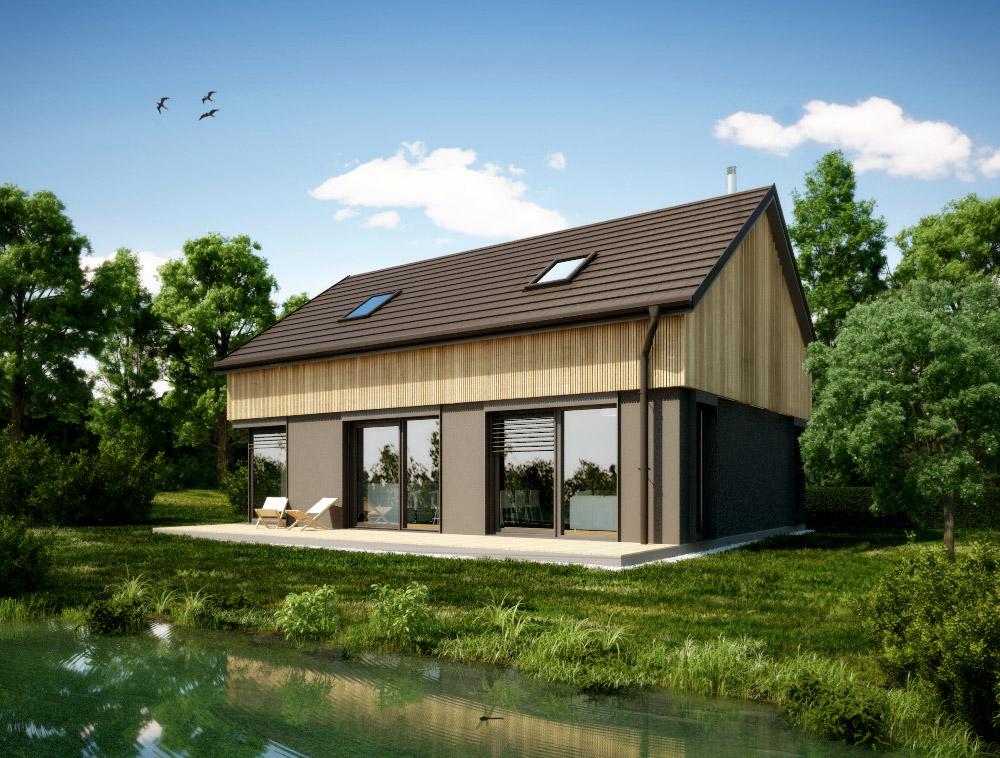 Tipska hiša Lumar DELTA S z leseno oblogo mansardnega dela.