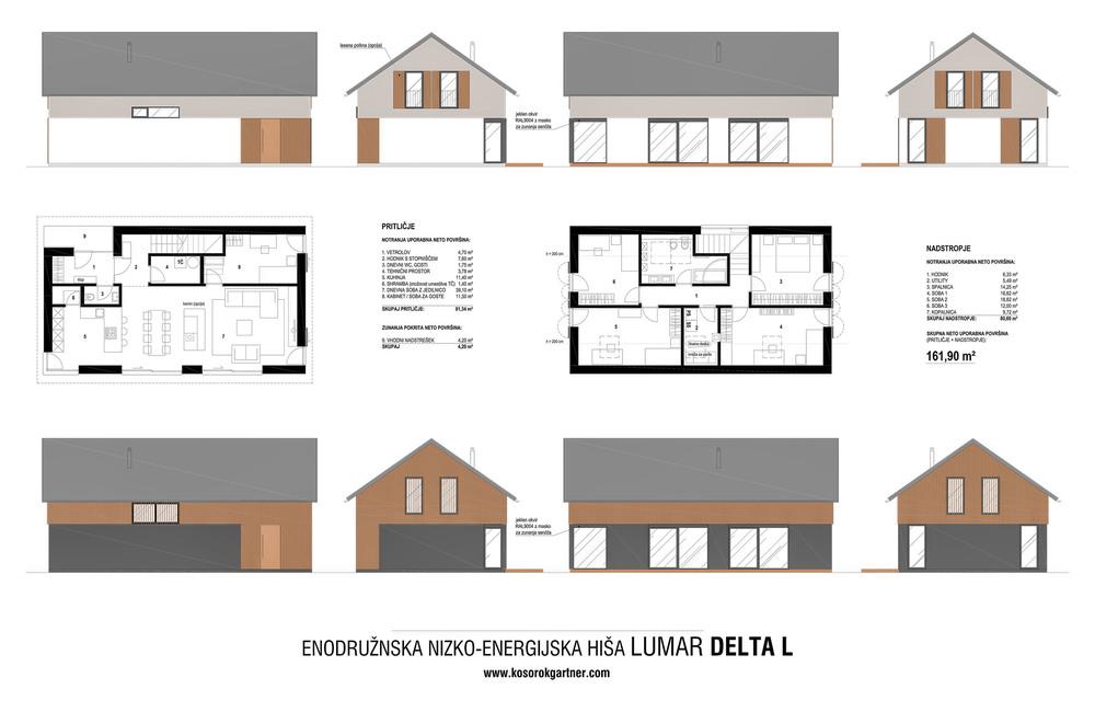 Tlorisi in fasade tipske hiše Lumar DELTA L 160