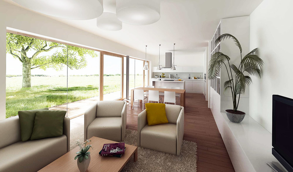Bivalni prostor se preko obsežnih steklenih površin in terase širi na vrt pred hišo.