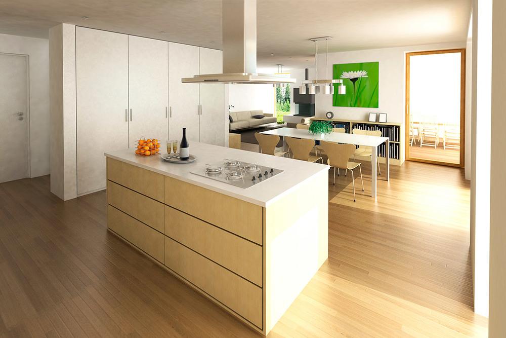 Pogled iz kuhinje proti jedilnici in terasi.