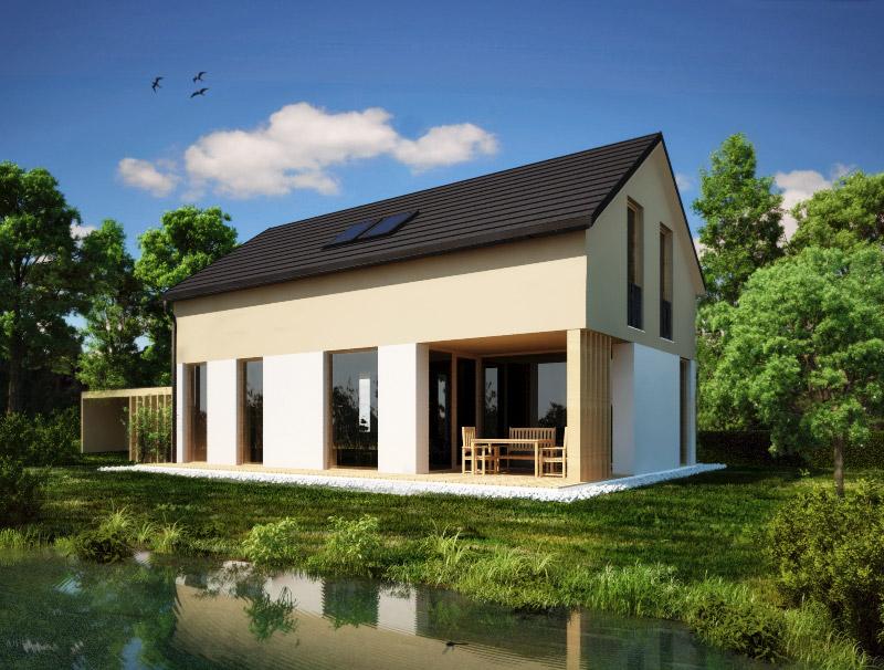 Tipska hiša Lumar EOS S z napuščem in prostorno teraso.