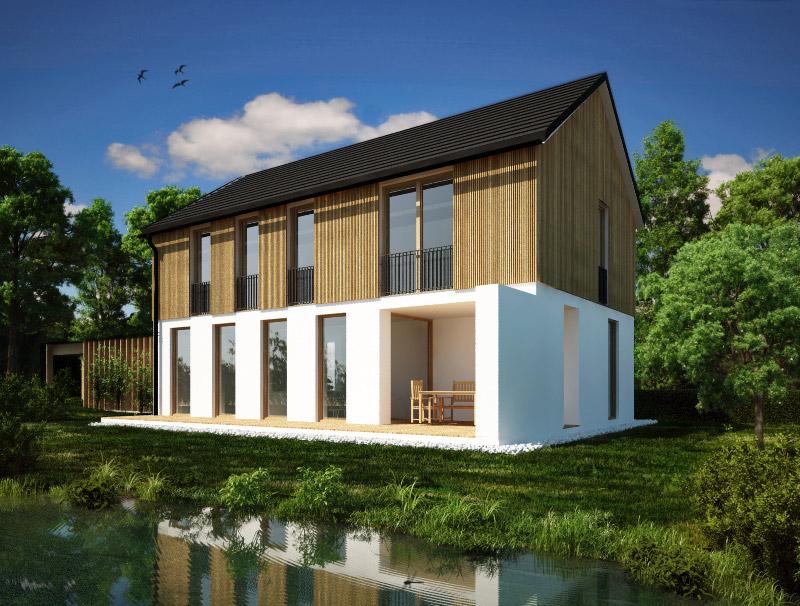Tipska hiša Lumar EOS L z napuščem in leseno oblogo nadstropja.