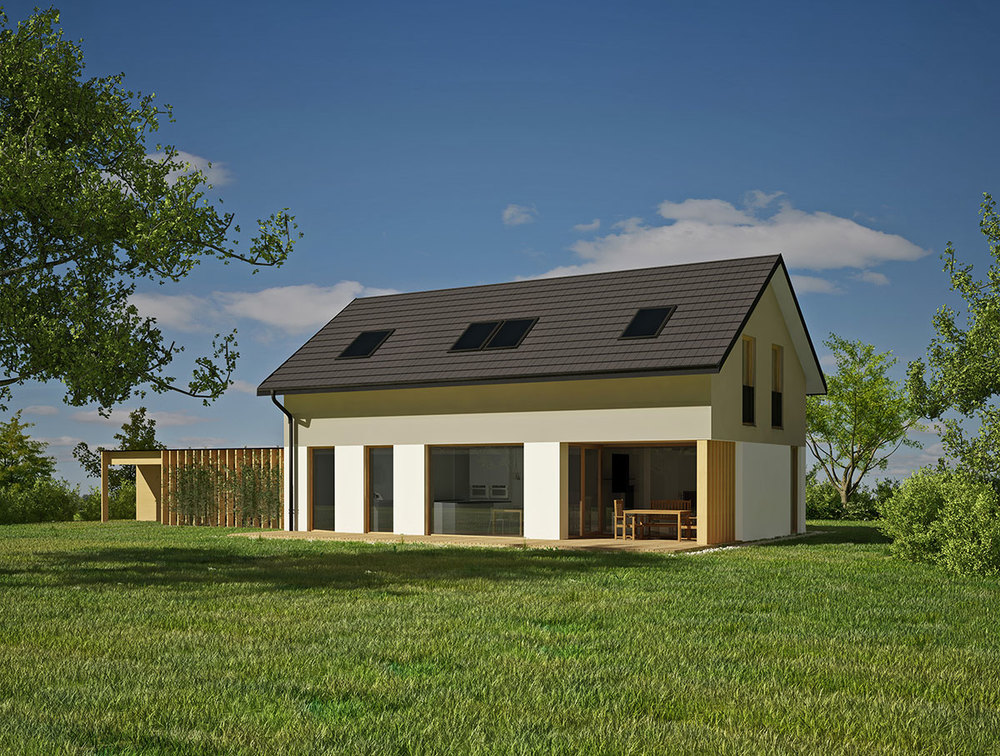 Mansardna varianta z dvokapno streho z napuščem s pokrito teraso in nadstreškom.