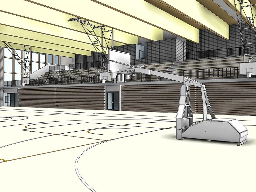 BIM model dvorane - notranji pogled proti tribunam.
