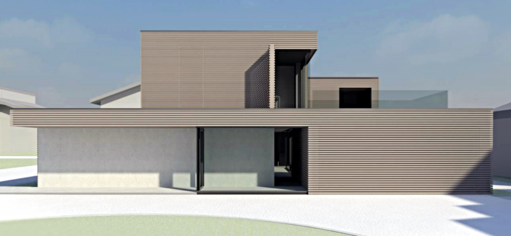 Lesena fasada in vidni betoni