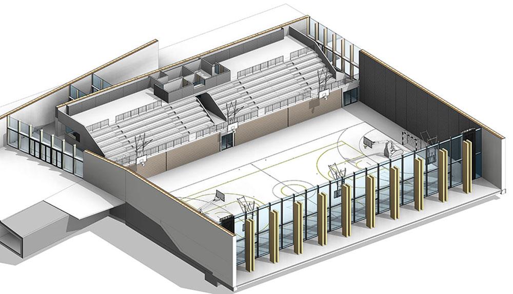 3D tloris BIM modela dvorane.
