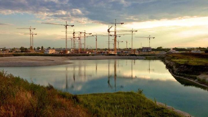 Gradnja mesta Aspern, severovzhodno od Dunaja