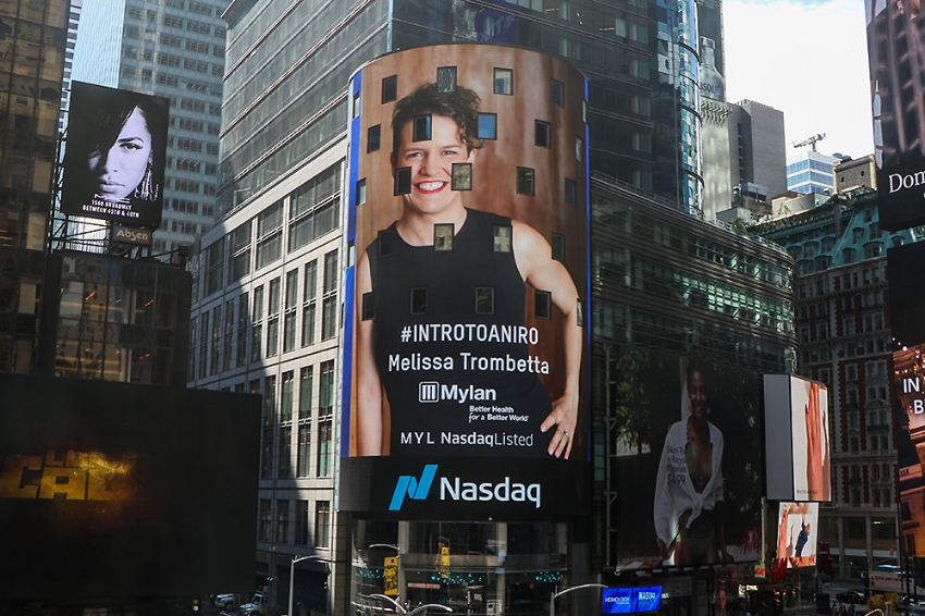 Melissa Trombetta, Advancing Women Executives Leader on the Jumbotron in New York's Times Square.