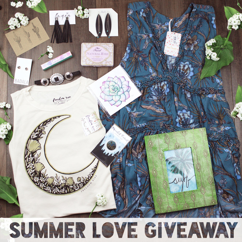 All the goodies! Printed Free People dress, Surf Artwork, Organic cotton T by Freedom Rise, Aha crafted leather earrings and more!