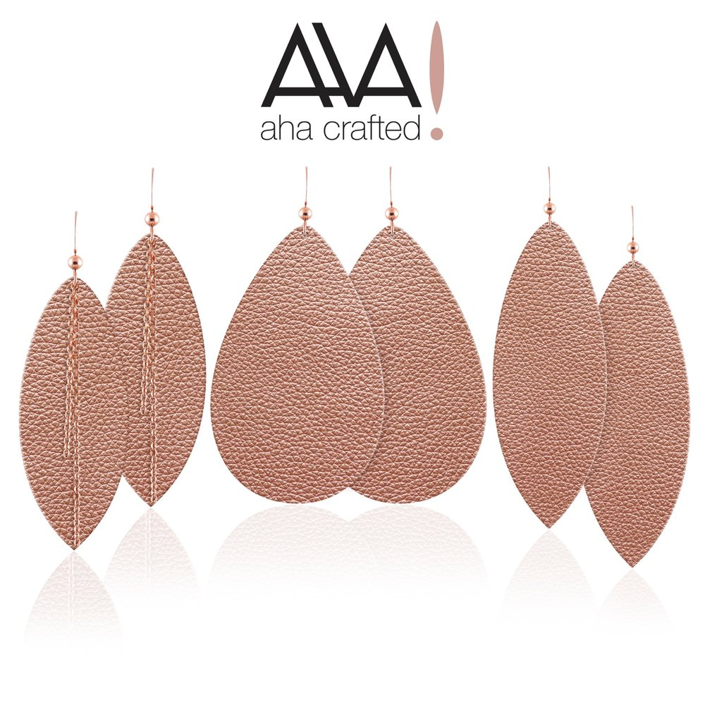 Aha Crafted Rose Gold Leather Earring Collection