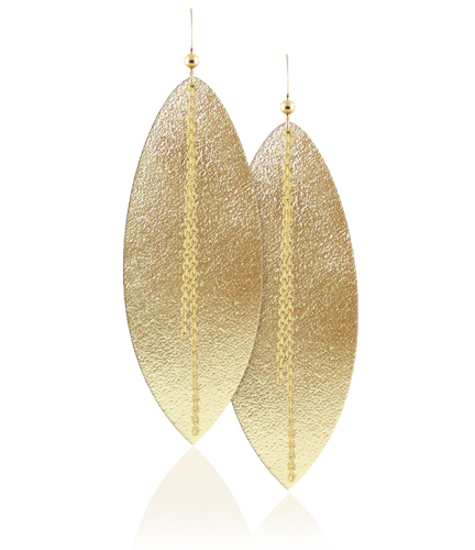 These are the earrings worn by Kim at the White Famous premiere. They are handcrafted with genuine gold leather and 14K gold filled hooks and cable chain.