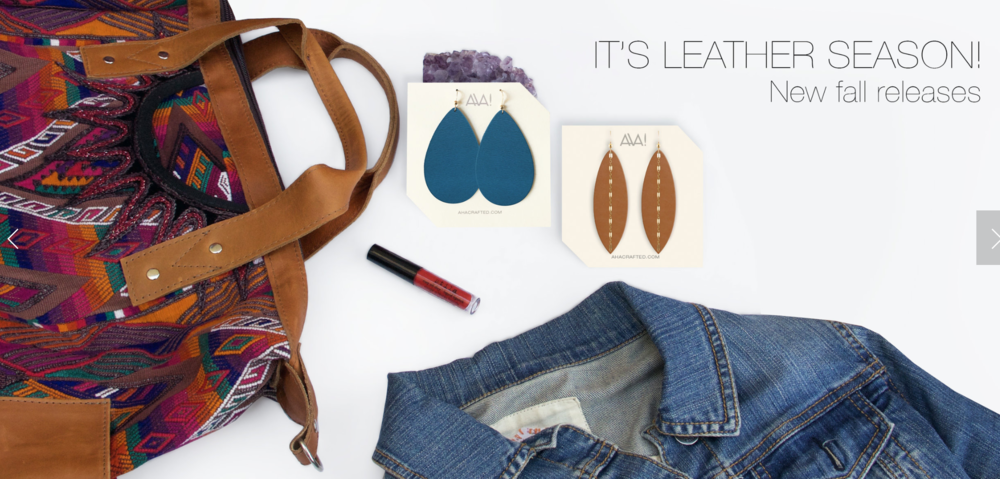 """This is one of the Nena Bags I scored about 2 weeks ago. A gorgeous leather pocket CDB. Also pictured are the  Aha """"Teal"""" Teardrop Leather Earrings , and the  """"London Tan"""" Linked Leather Earrings ."""