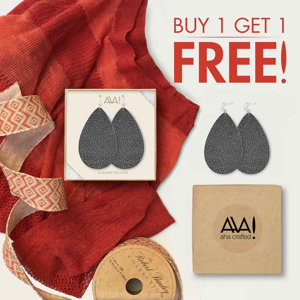 Buy one get one free grey teardrop earrings