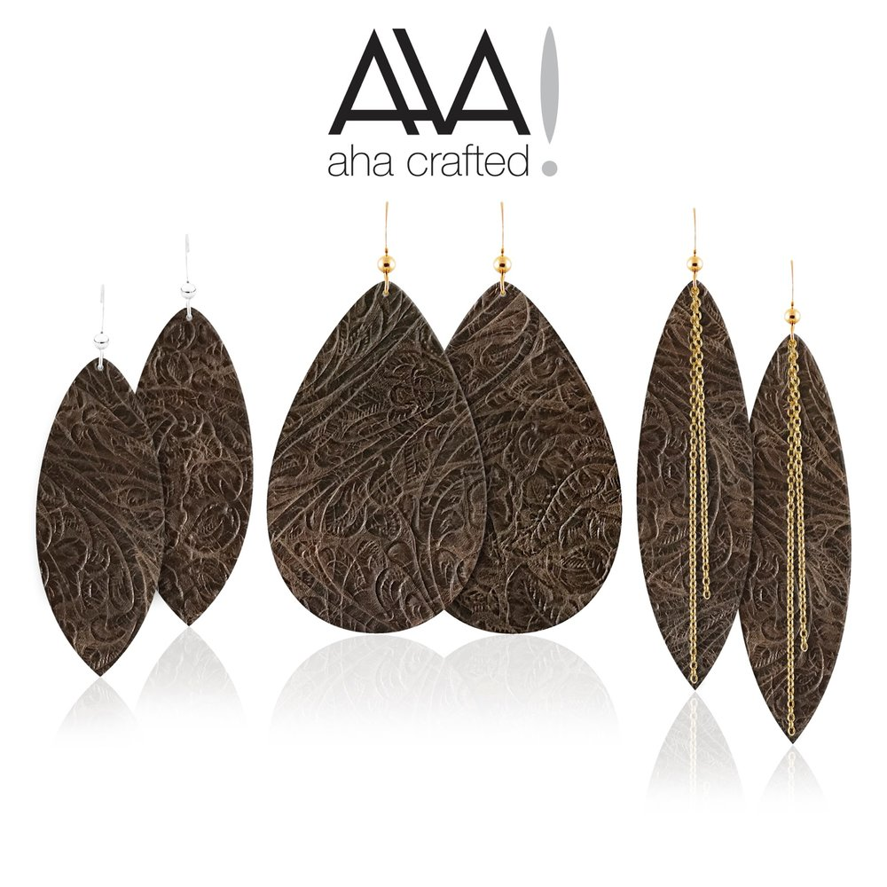Introducing the Sierra Aha Leather Earring Collection! A gorgeous dark brown embossed leather available in three variations!