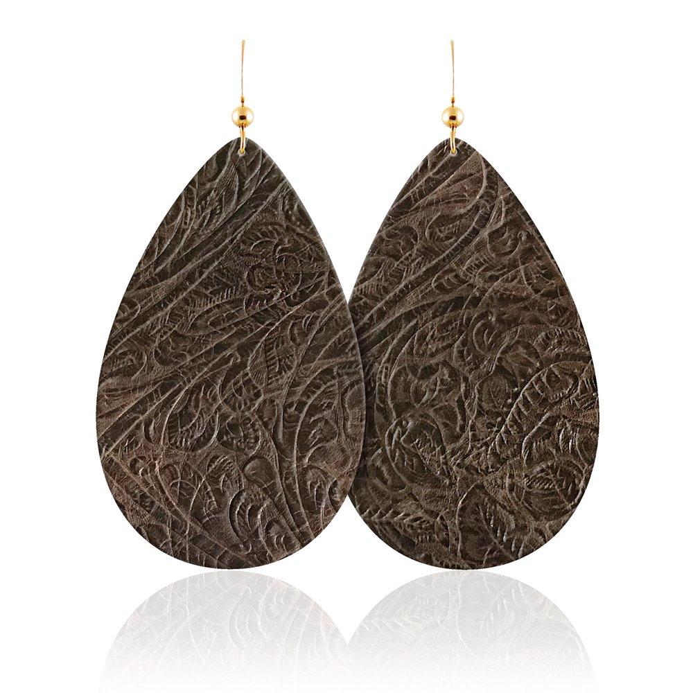 Sierra Teardrop Leather Earrings