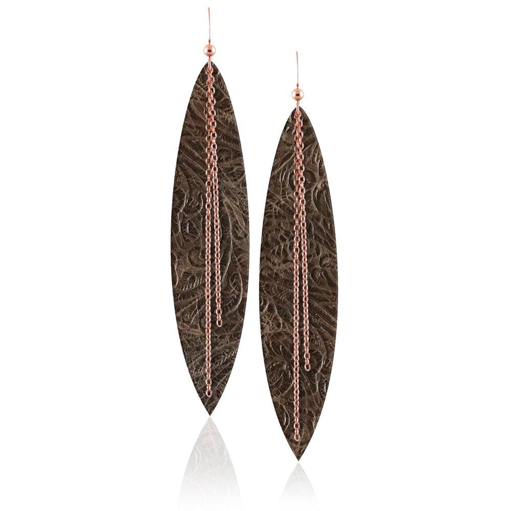 Rose Gold Linked Sierra Leather Earrings