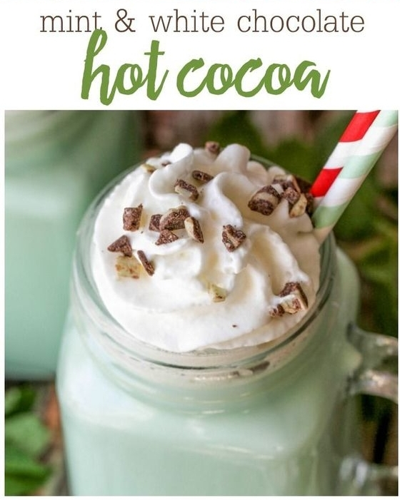 INGREDIENTS  2 cups milk 2 cups half & half ½ bag white chocolate chips 1 tsp. peppermint extract few drops of green food coloring Crushed Andes mints and Whipped Cream for garnish   INSTRUCTIONS  In a large pot, add milk, half & half and heat over medium heat until hot but not boiling. Add white chocolate chips and stir until completely melted. Add extract and food coloring. Stir well. Top with Whipped Cream and Andes. Serve warm.   See full recipe at:  https://lilluna.com/mint-hot-cocoa /