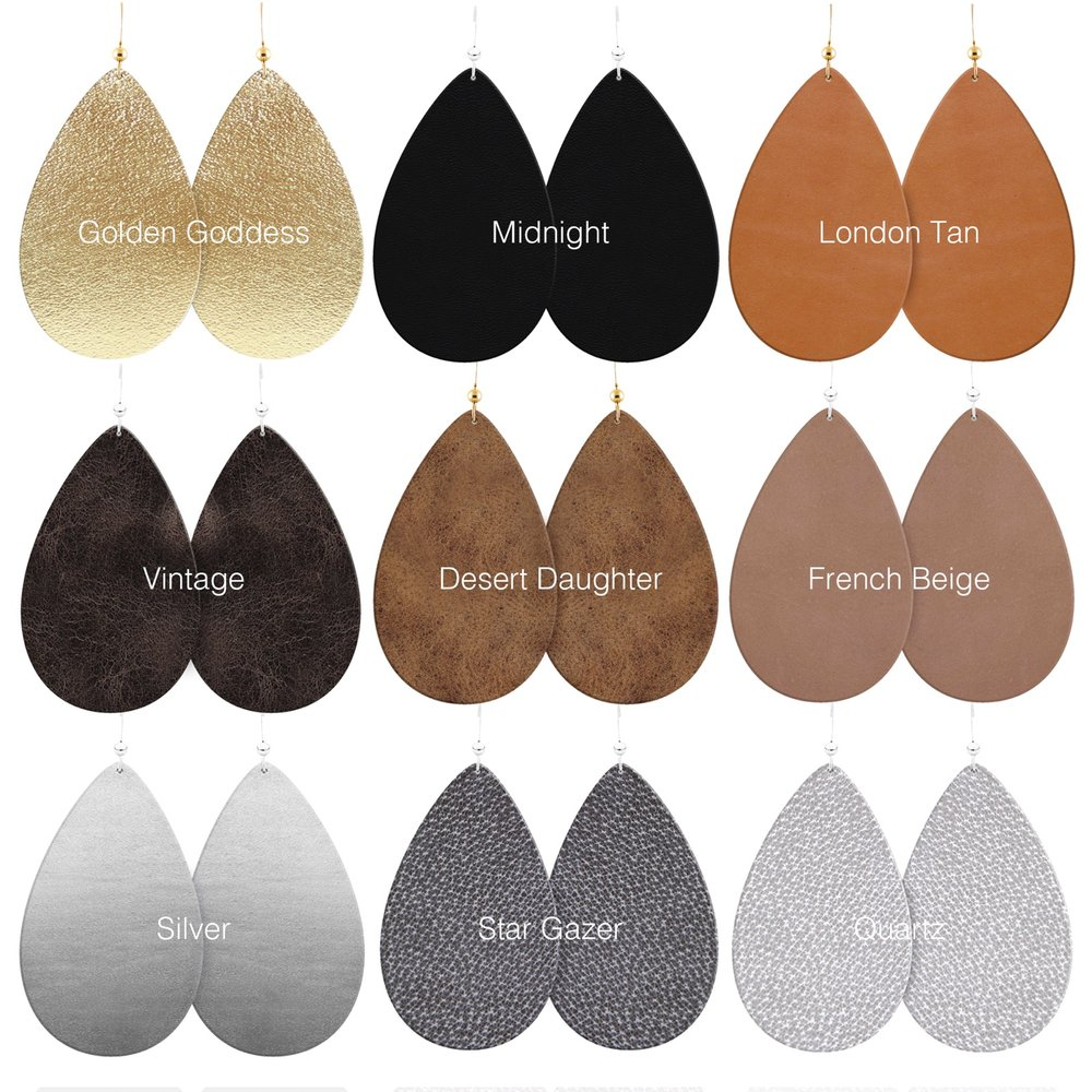 Just a few of our leather earring colors available for wholesale. For the full line up you can request a line sheet and pricing from the form on our wholesale page  here.