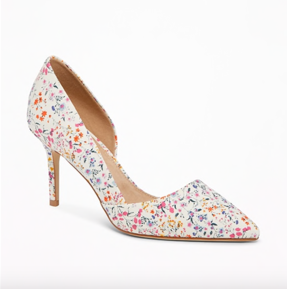 Love the gentle colors, open insoles, and low heel (not to mention low price?) Get them   here . ($32)