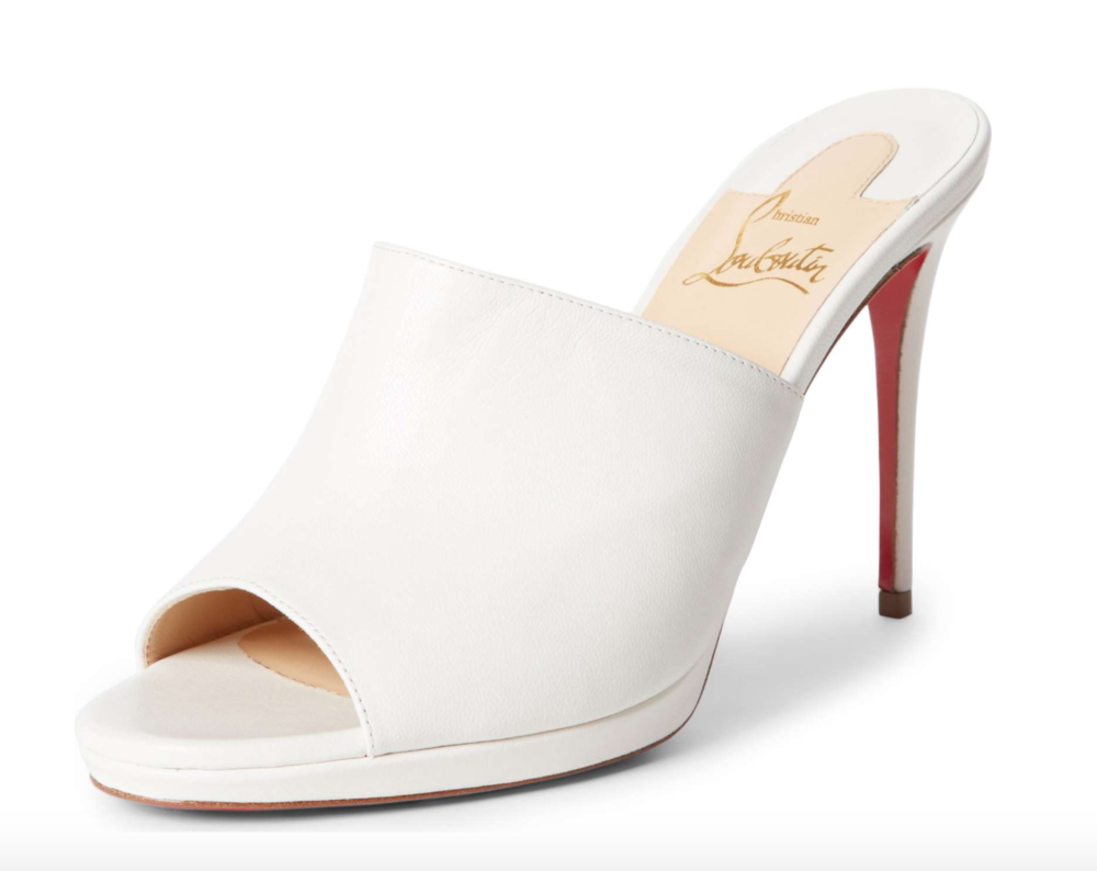 Get these creamy white leather Christian Loubitons here.
