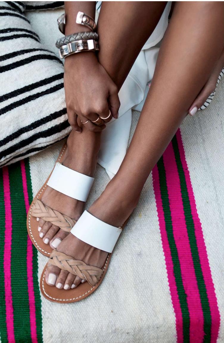 White Slide Sandal Close