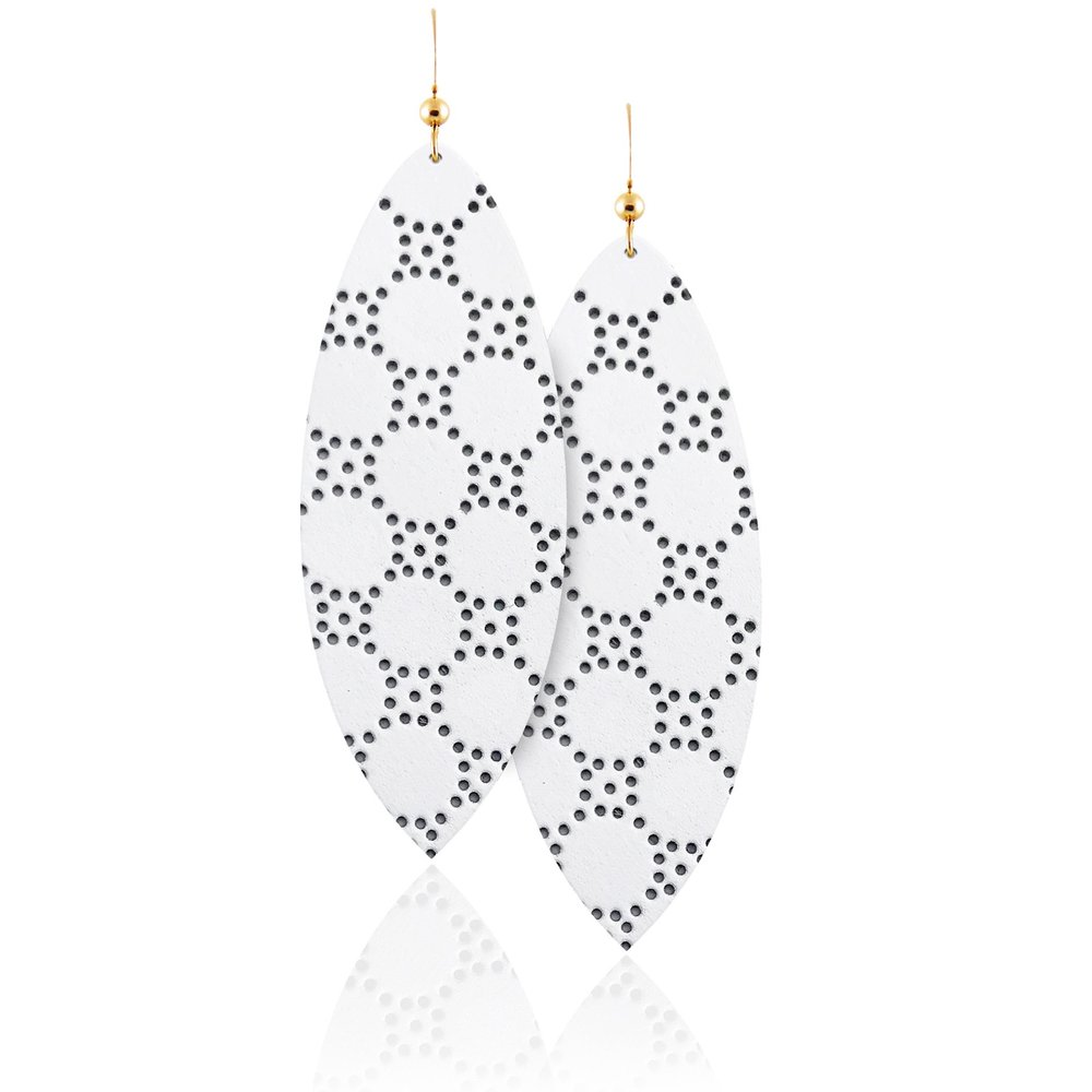 White Leather Honeycomb Aha Earrings in Surf Shape.