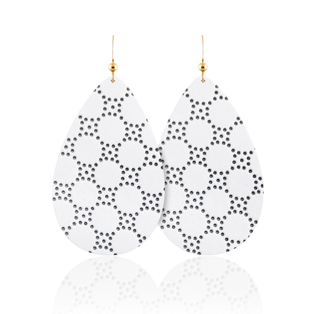 White Honeycomb Teardrop Leather Earrings