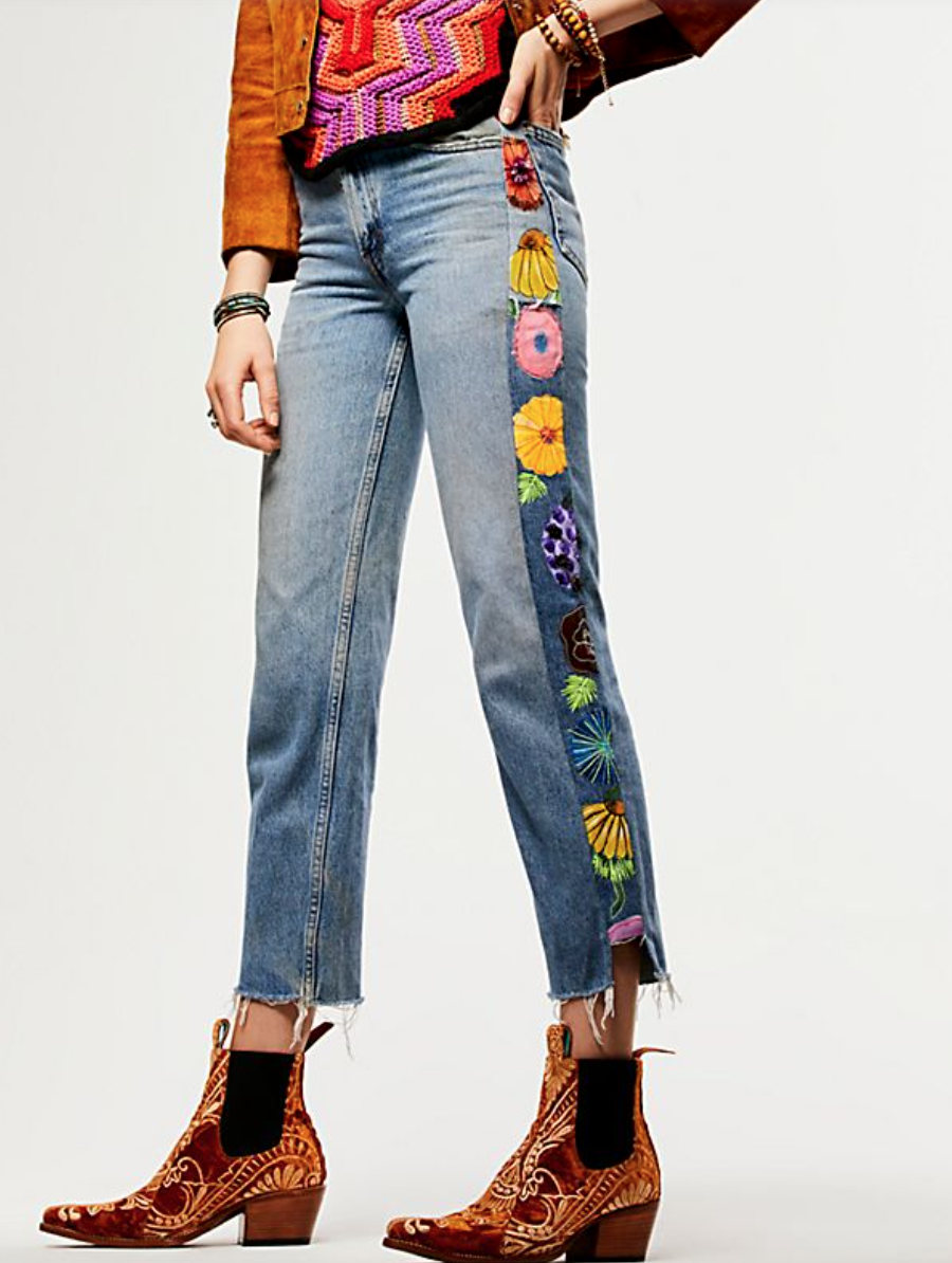 Get these hippie inspired Denim Embroidered Jeans at   Free People.