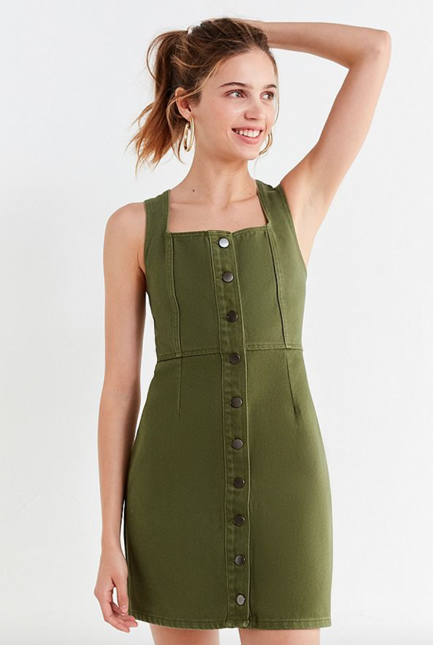 Get this button down denim mini dress in green, white, blue or black   here .