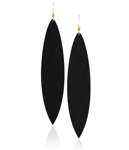 Get these  Classic Midnight Leather Earrings for $20.