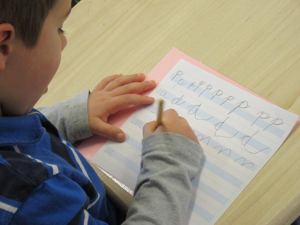 Practicing cursive