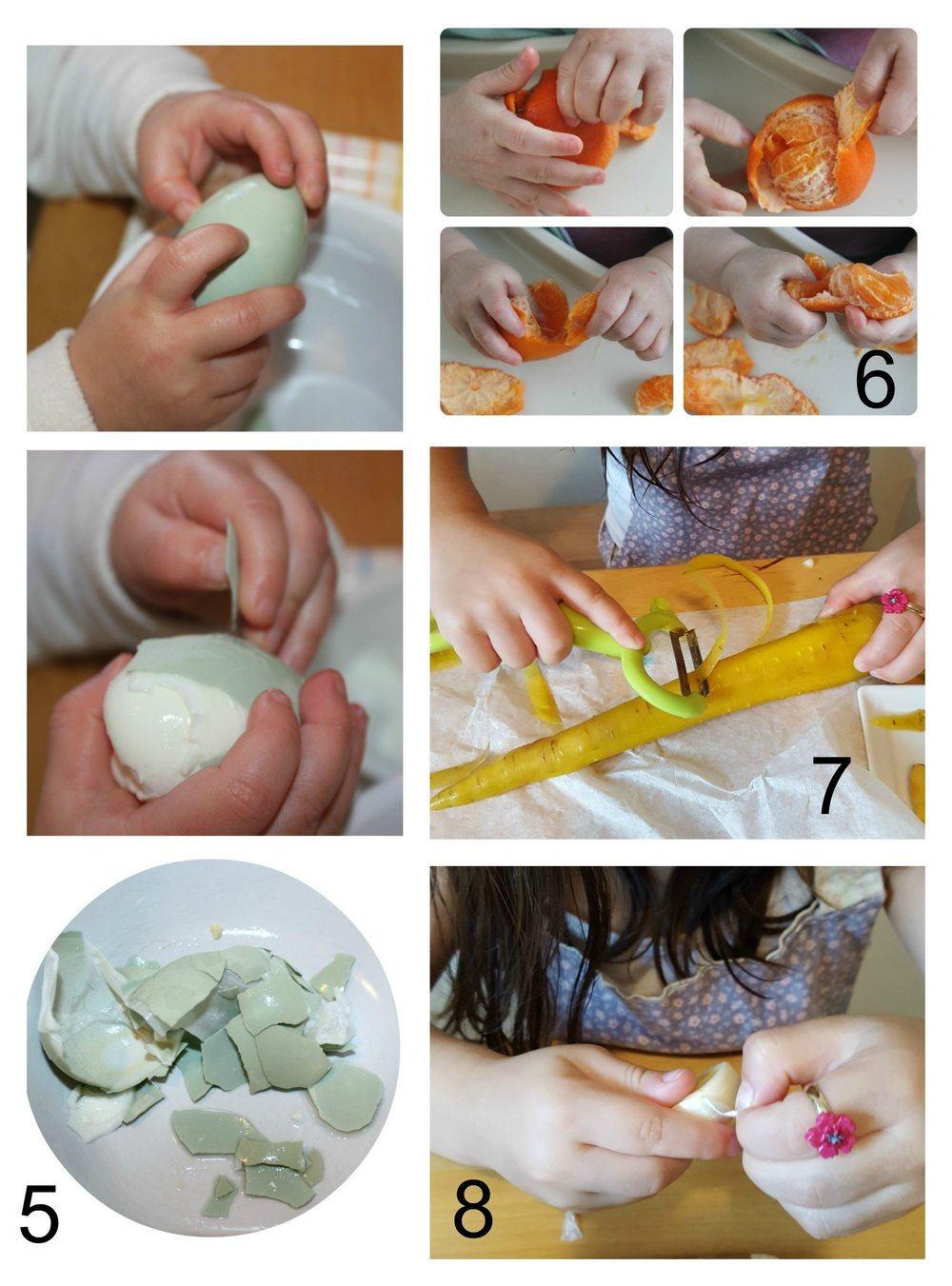 Peeling using fingers (egg, garlic, mandarin orange) or using a peeler