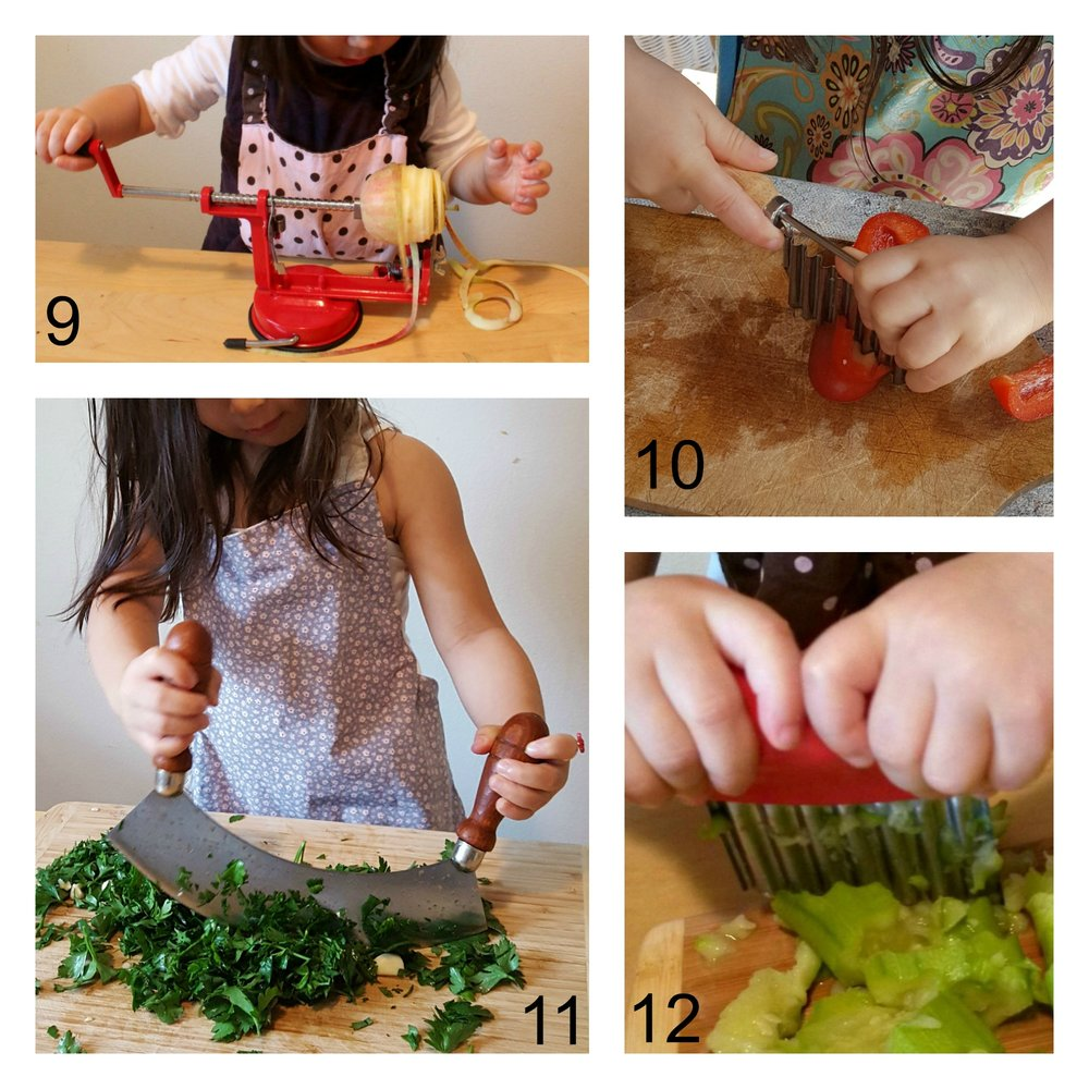 Cutting and chopping (*make sure your child is using knives and other sharp tools properly, putting her hand in the right place. Remind her again and again that no fingers should be on the cutting board)