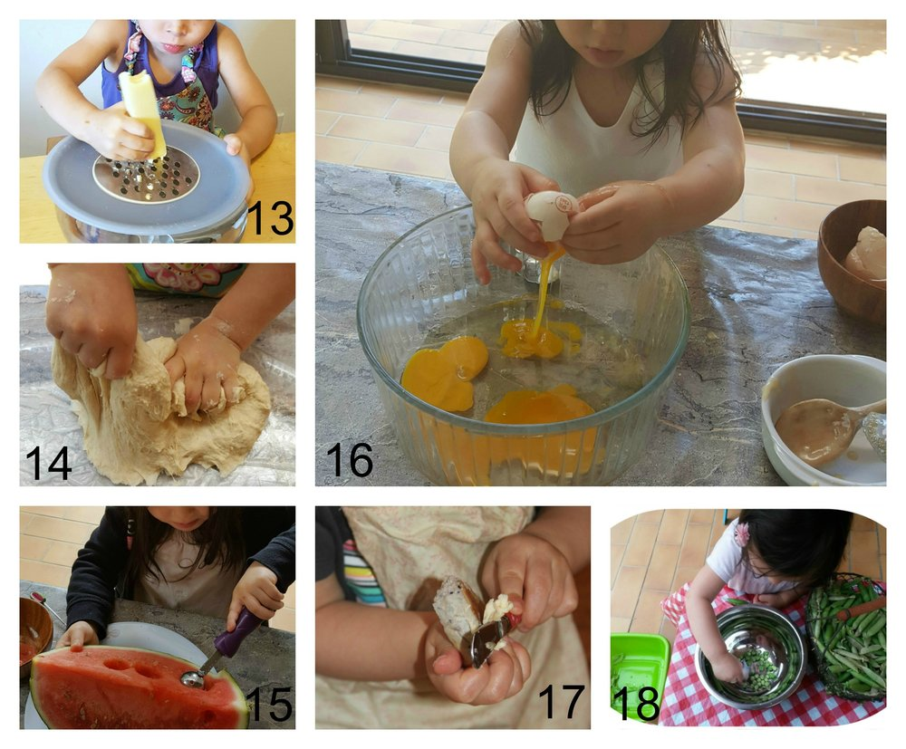 Grating, kneeding, scooping, egg cracking (be sure to have a full carton of eggs to sacrifice the first day your child tries this… and plan to have a crunchy omelet to eat that day!), spreading, and shelling peas