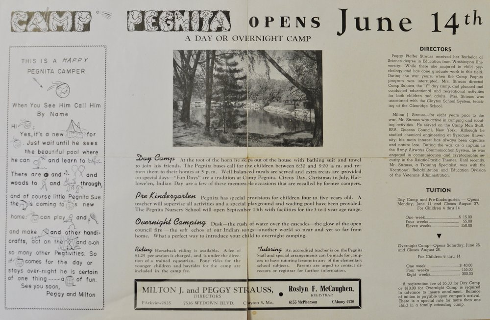 Here is the original pamphlet for Camp Pegnita from 1947! Note the tuition: $15 per week! Horseback lessons were the fair fine price of $1.25!