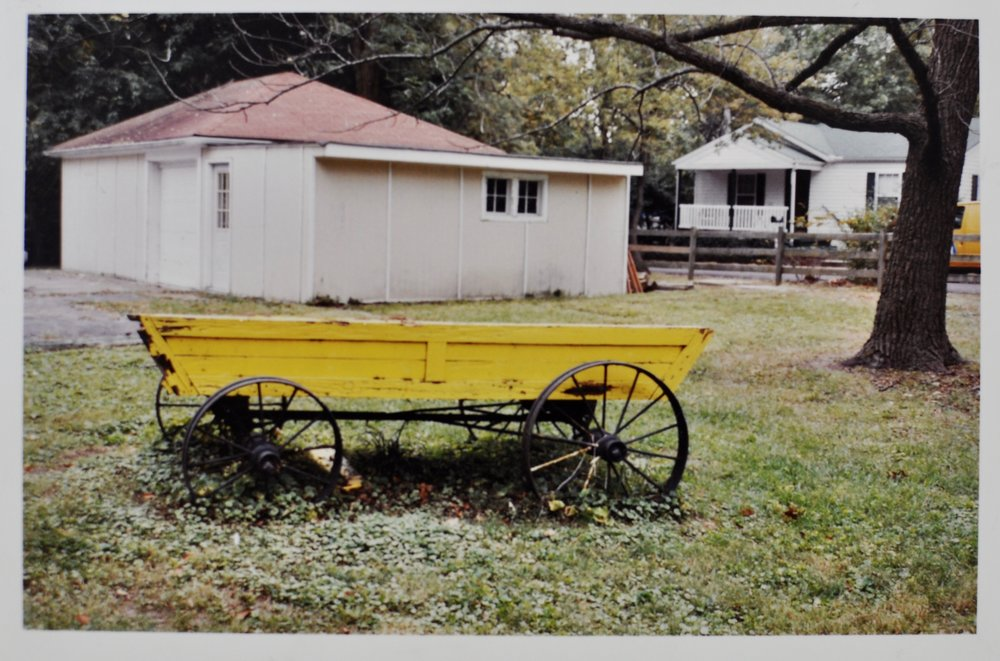 The original camp wagon, the wheels of which were hung in the pavilion as chandeliers. They will now be repurposed into tables for the elementary outdoor spaces.