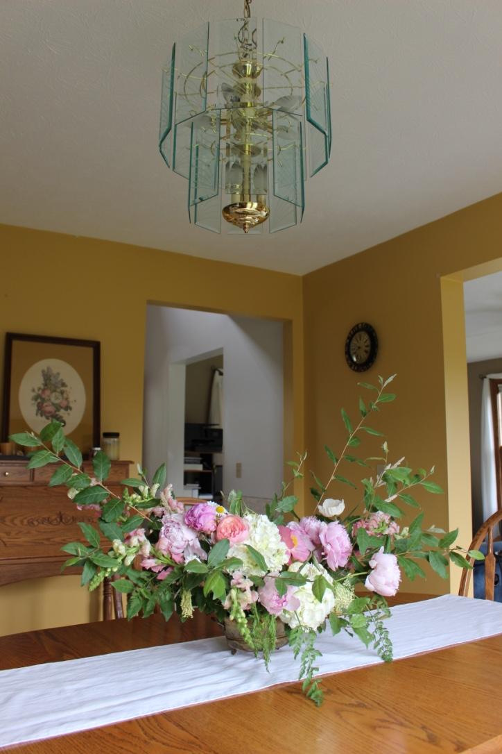 Pink peony, poppy, garden rose & hydrangea bouquet | Loveshyla.com