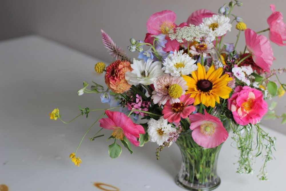 Micro Wildflower Bouquet in Antique Basket Vase | Farmer Florist, garden bouquet of the week | Loveshyla.com